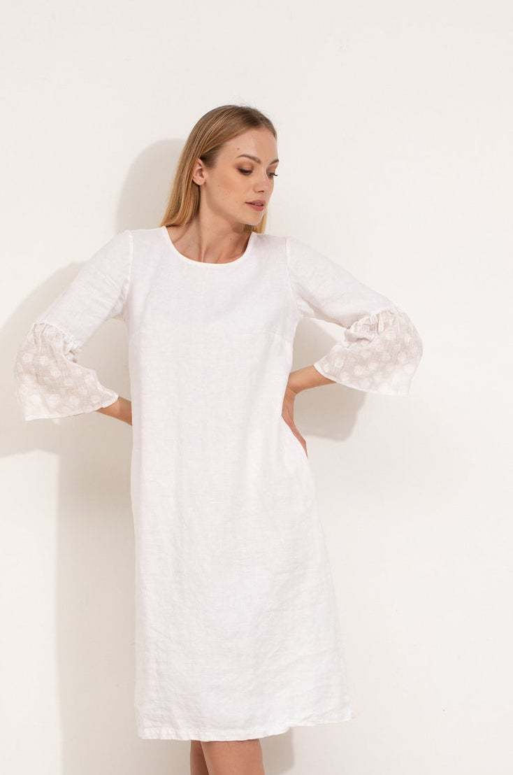 white linen dress with frill sleeves #linen #dress #white #frill #frombritainwithlove