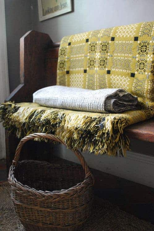 love this melin tregwynt knot garden welsh blanket in Gorse. Click through to find out where to buy this and other beautiful welsh blanket ideas you'll love