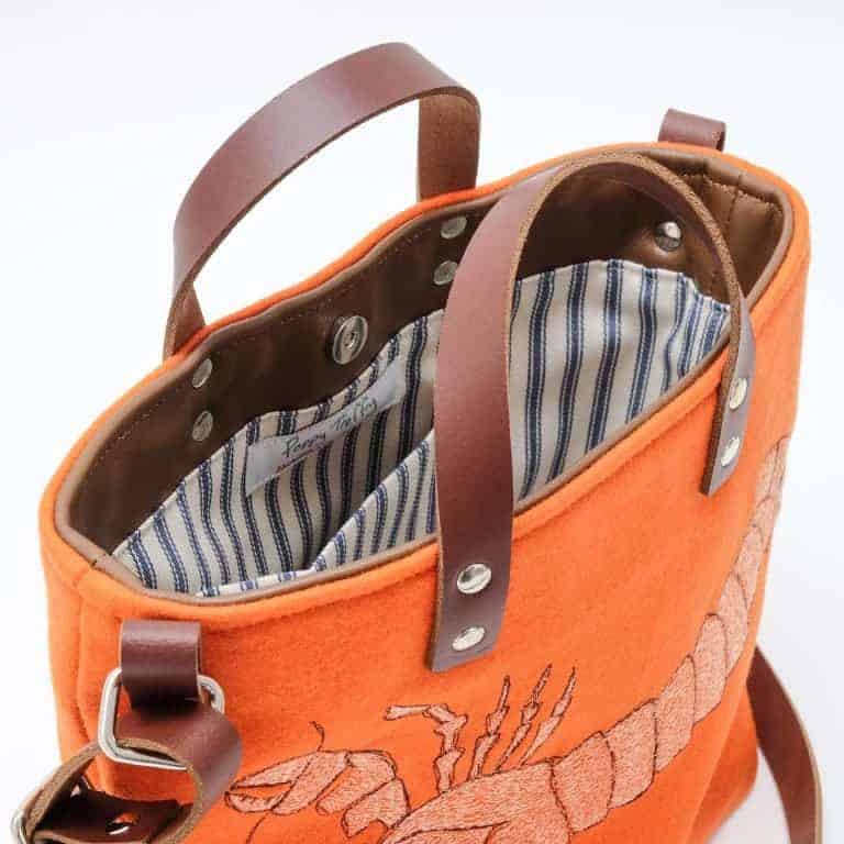 poppy treffry orange lobster bag