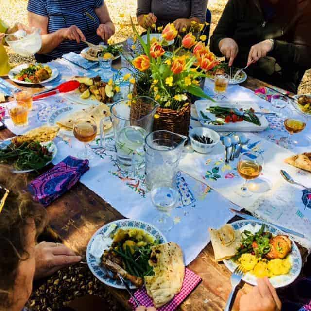 tiny homes creative retreat outdoor summer dinner supper party wild flowers vintage linens local food simple pleasures