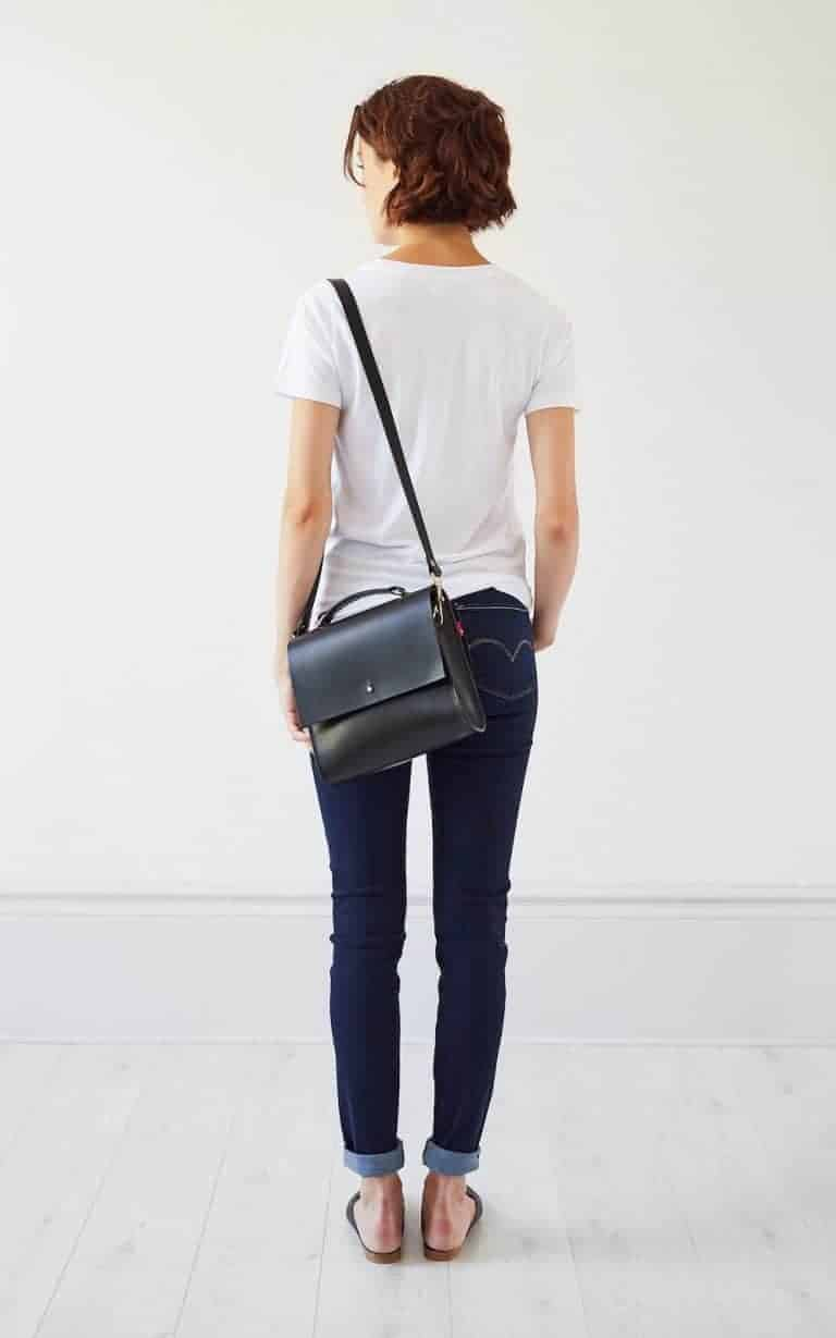the perfect black leather cross body handbag satchel carry case with strap and carry handle by Grace Gordon London. Click through for more perfect handbag ideas you'll love