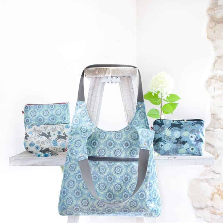 love this pale blue flower oilcloth shoulder bag by susie faulks made without any animal products and vegan. click through to find out why this is the perfect bag - as well as other perfect bag ideas you'll love