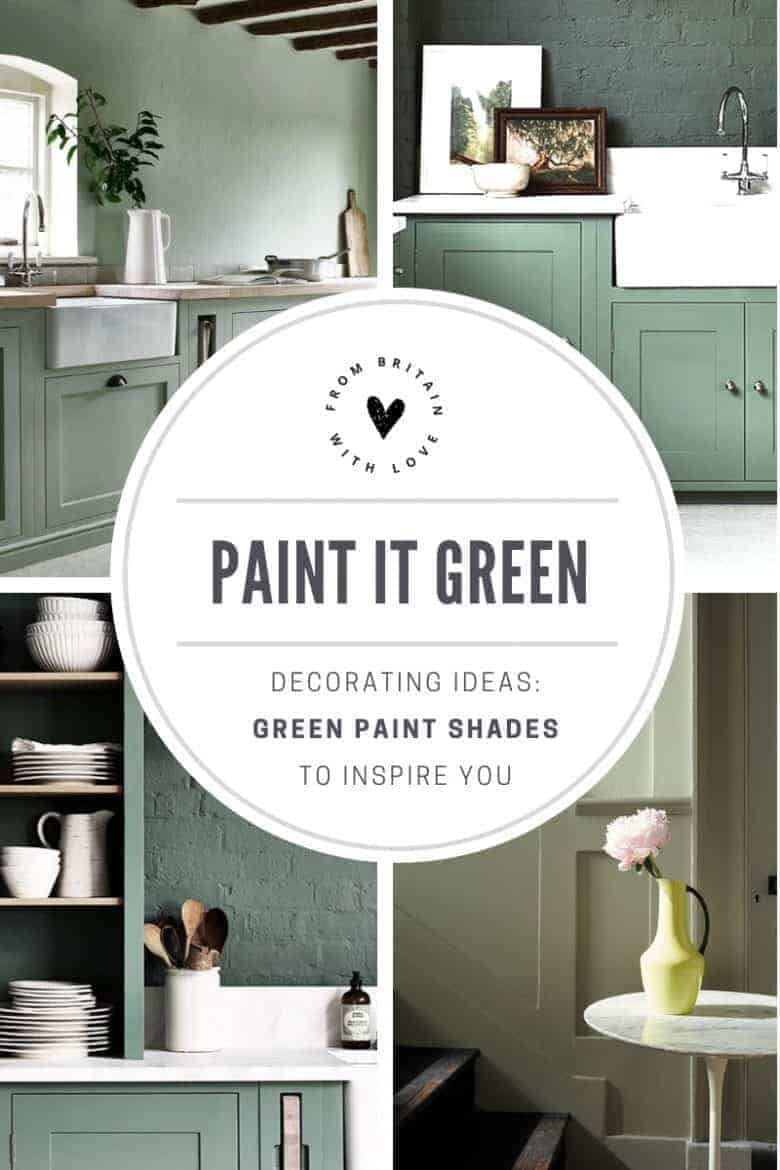 love these sage and darker green paint colours by Neptune and Little Greene . Click through for painted kitchen ideas, decorating ideas for hallways, living rooms, bedrooms and more all with shades of green paint - from sage greens, dark greens, pale green and aquas to bright pea and the darkest forest green shades. #greenpaint #decoratingideas #paintedkitchen #neptune #littlegreene #frombritainwithlove #bedroom #livingrooom