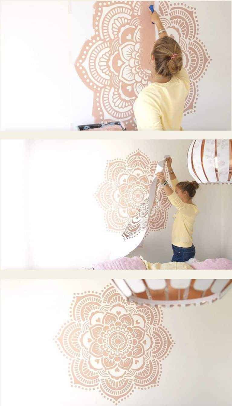 love this mandala wall stencil from the mandala stencil company. Click through for more stencilling ideas you'll love