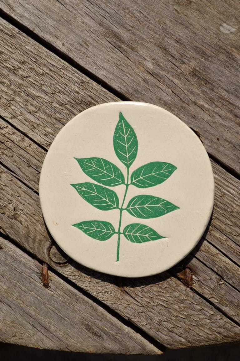 leaf print clay coasters these two hands