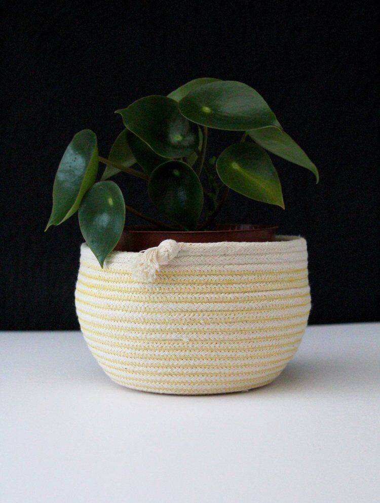 love this yellow and white rope handmade tumble pot plant pot by Ruby Cubes made in the south west and one of Naomi's summer picks from These Two Hands. Click through to discover her other choices
