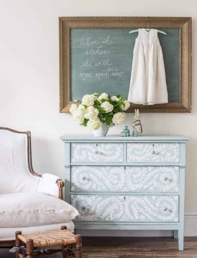love this pale blue vintage wooden chest of drawers stencilled with white chalk paint. Click through for more stencil and stencilling ideas you'll love