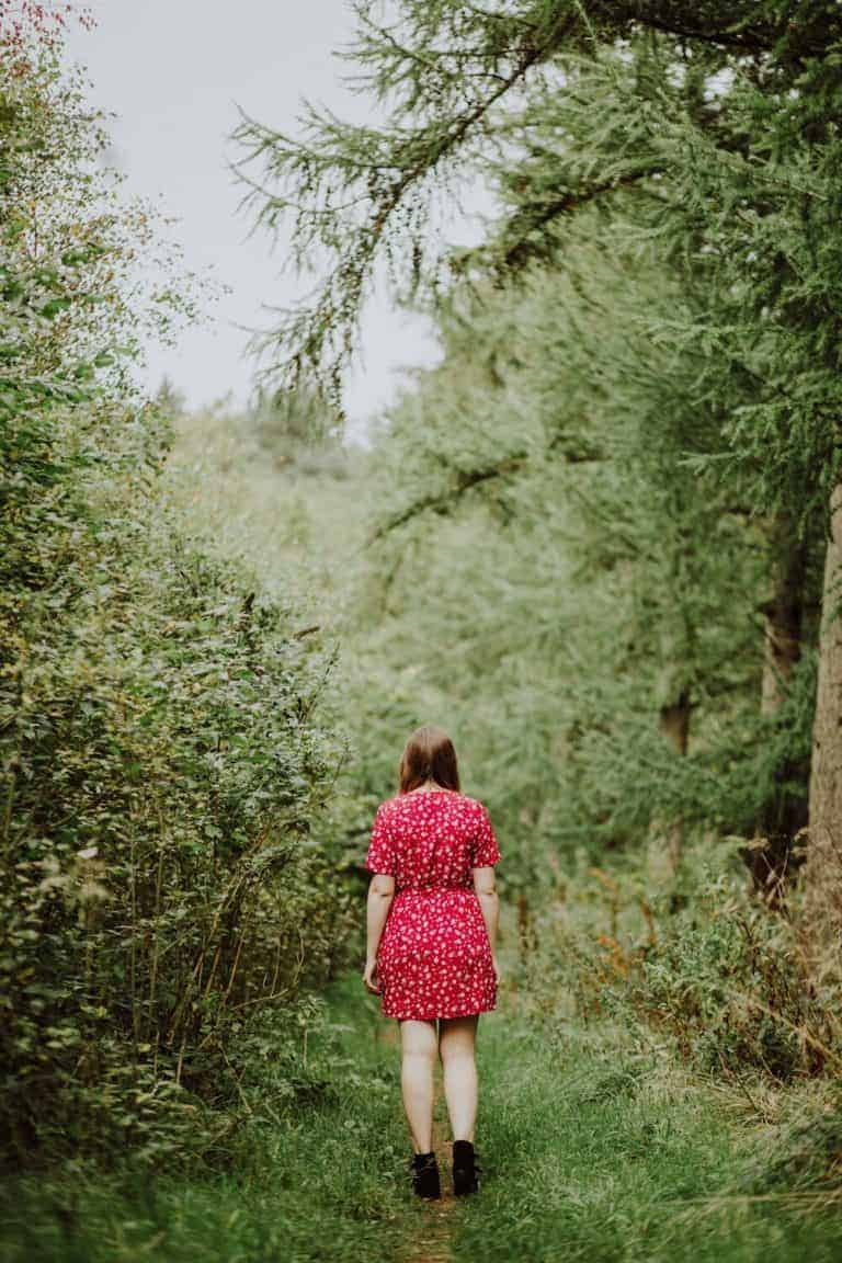 love this image of girl in red dress going for a walk in the woods forest oak and claw