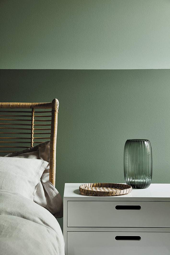 Above Bedroom With Two Shades Of Green Paint Colour On Walls Aquamarine Upper And Back Ambleside Lower Wall