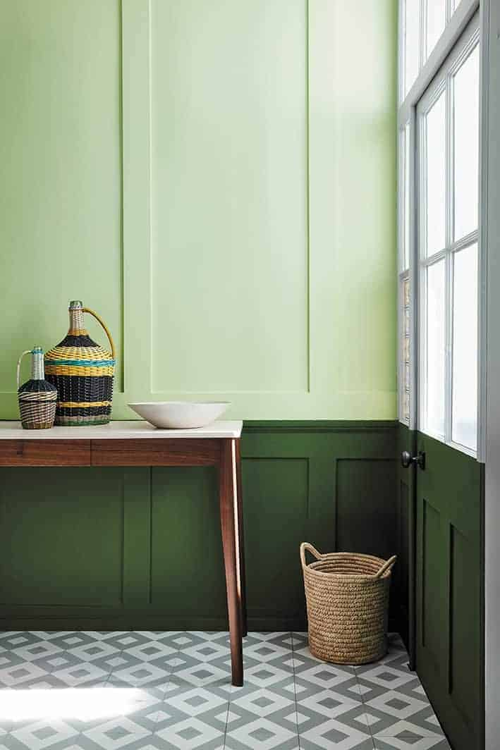 love this dark green paint colour for panelled hallway with lighter green above. Click through for more green paint colours you'll love