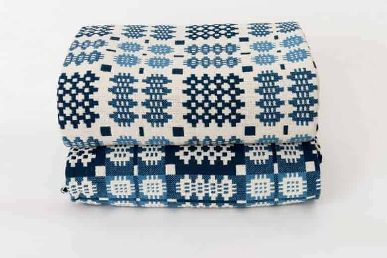 blue and white welsh blanket tapestry design by trefriw