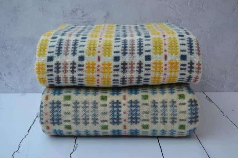 felinfach welsh blanket yellow blue spring colours made in wales