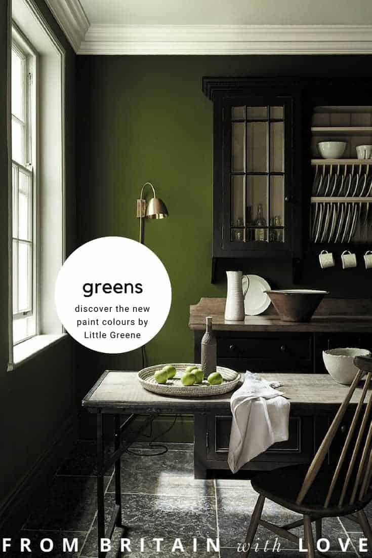 love these dark green paint colours by Little Greene - part of their latest new collection including sage greens, dark greens, pale green and aquas. Click through to see more green paint colour ideas you'll love