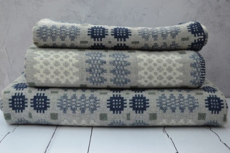 grey and white and blue welsh blanket tapestry design by felinfach
