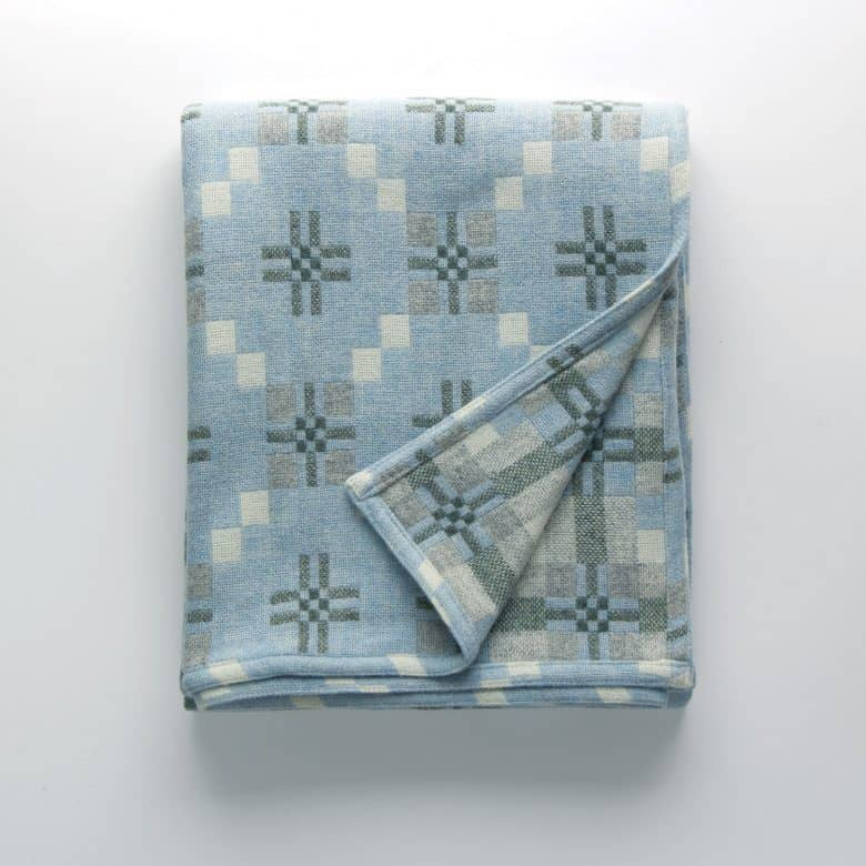 pale blue and soft grey welsh blanket st davids by melin tregwynt