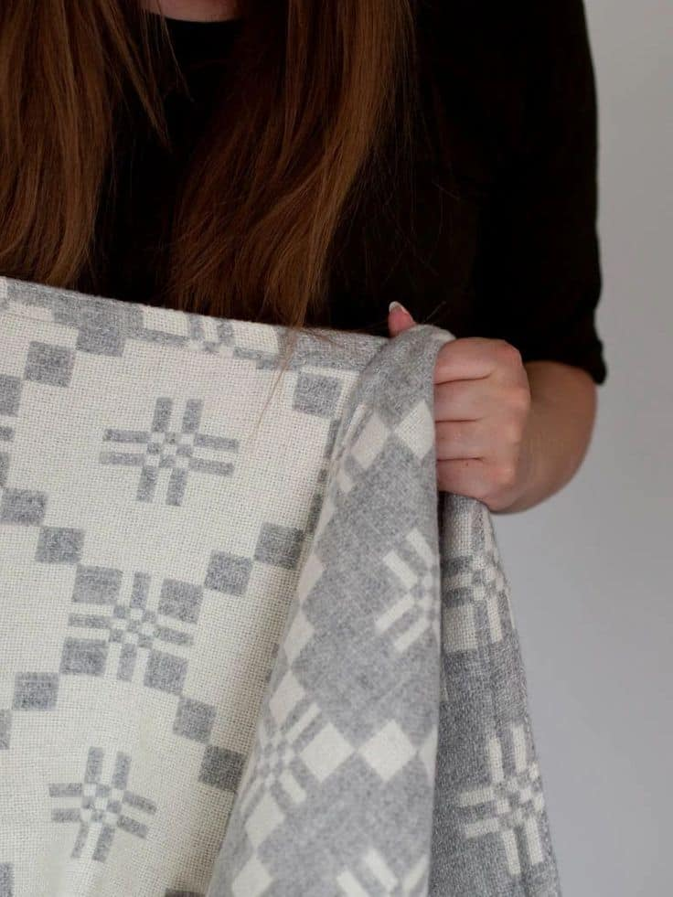 melin tregwynt pale grey and white welsh blanket throw