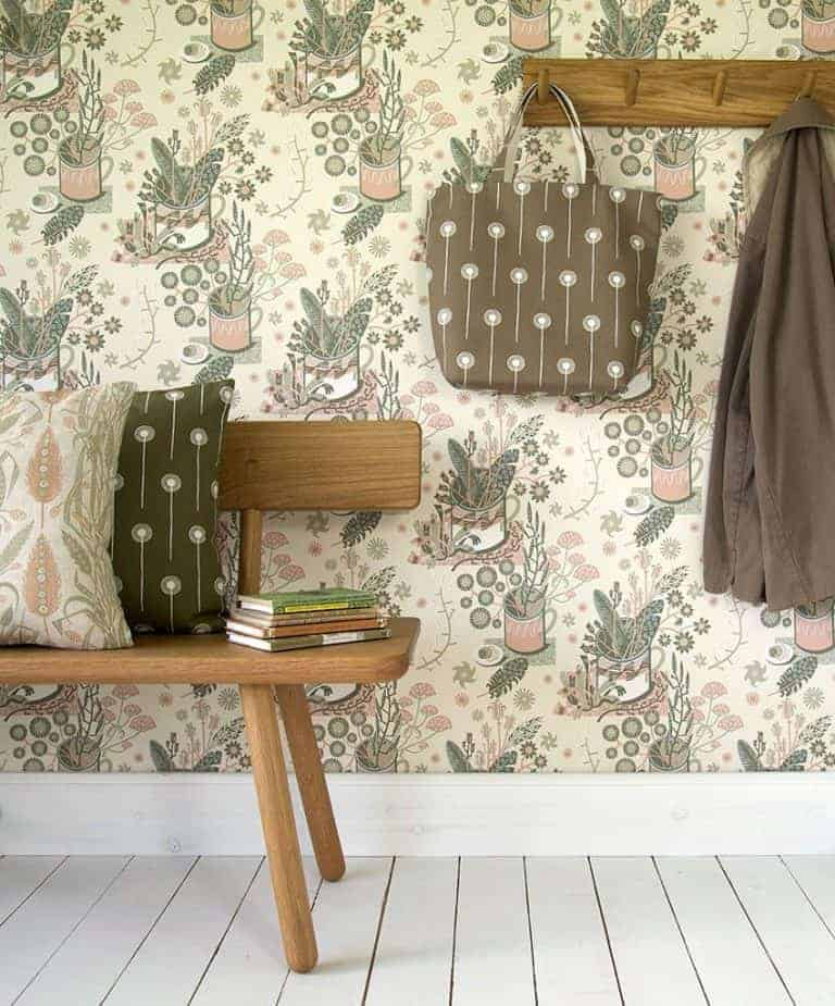 love this nature table wallpaper by angie lewin perfect for a feature wall or a midcentury modern living room. Click through for more living room furniture ideas you'll love