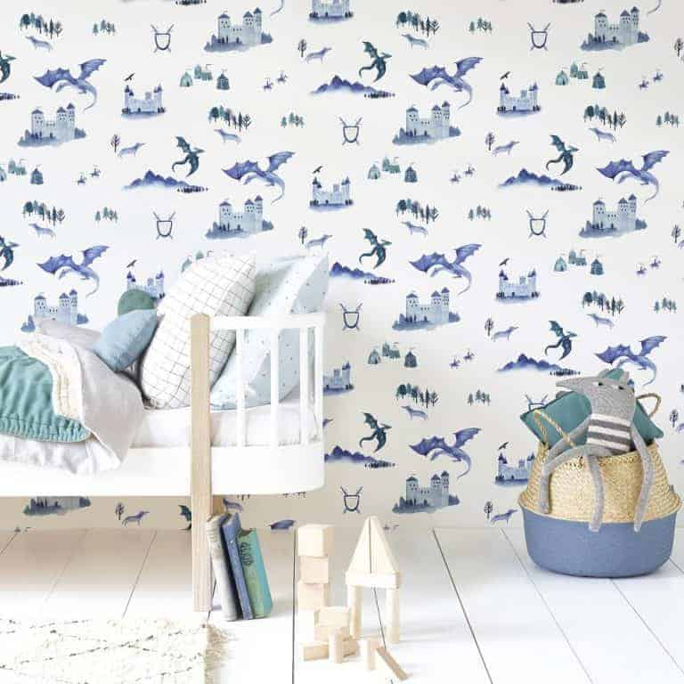 love this blue and white castles and dragons wallpaper hibou home perfect wallpaper for little boys bedroom or nursery. Click through for more wallpaper idaes you'll love