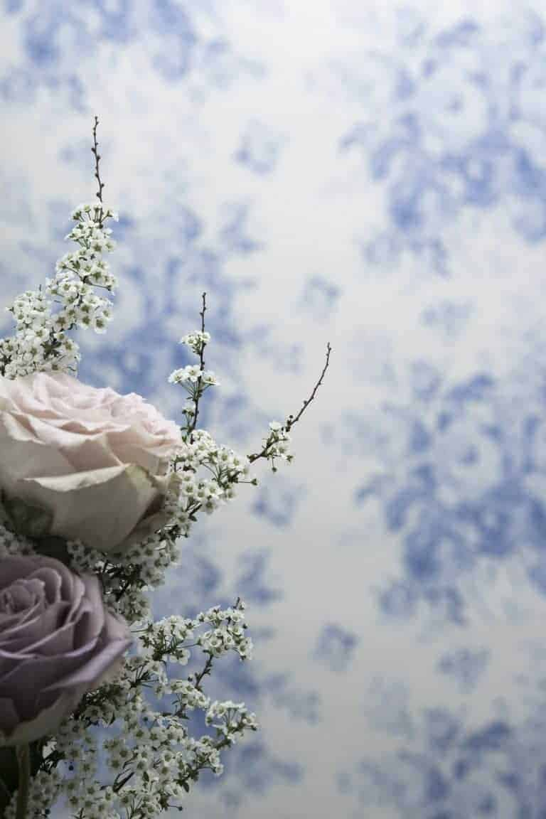 love this pretty blue and white roses floral flower wallpaper by Olive + Daisy, perfect for a pretty bedroom or rustic country cottage living room