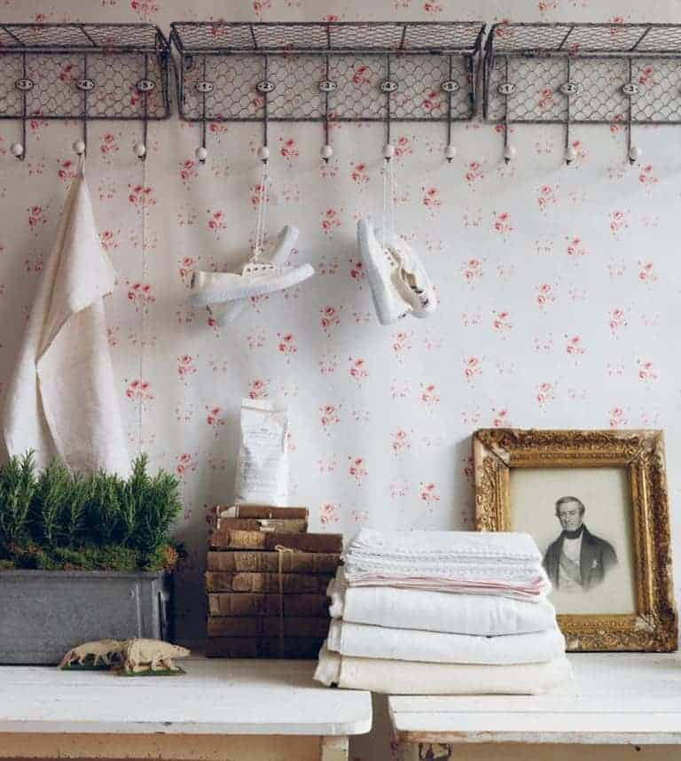 love this pink and white floral catherine rose wallpaper by cabbages and roses, perfect for a pretty bedroom, feature wall or country cottage rustic interior. Click through for more wallpaper ideas you'll love