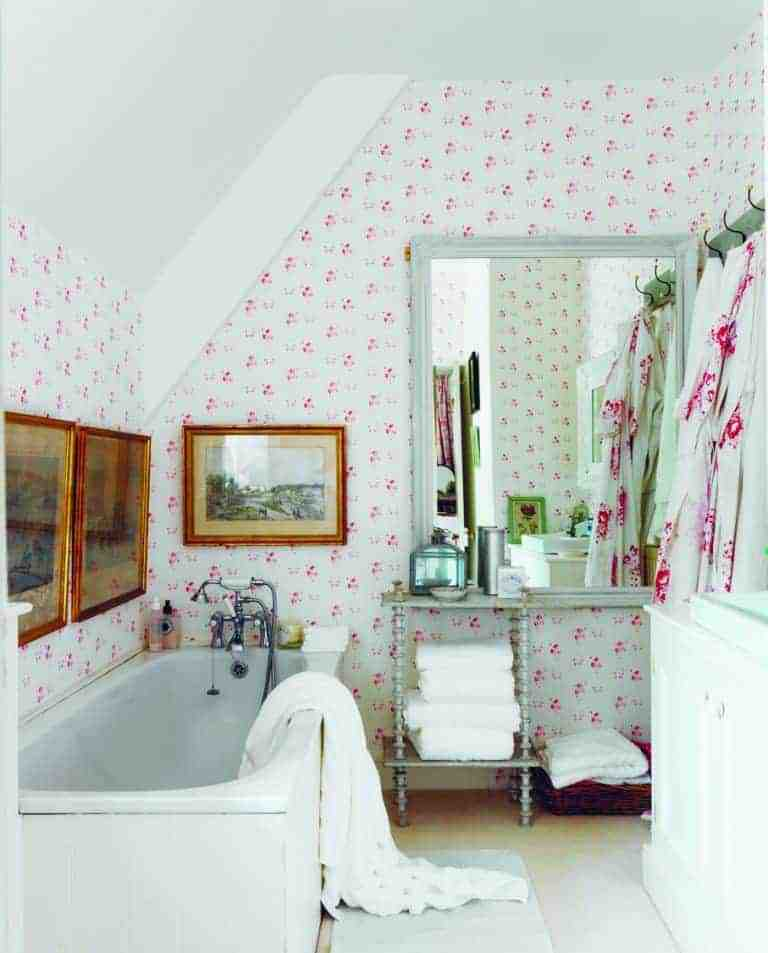 love this pretty pink and white floral sprig Catherine Rose Pink wallpaper by cabbages and roses. Perfect for bathroom, feature wall, bedroom or country cottage rustic interiors. Click through for more wallpaper ideas you'll love