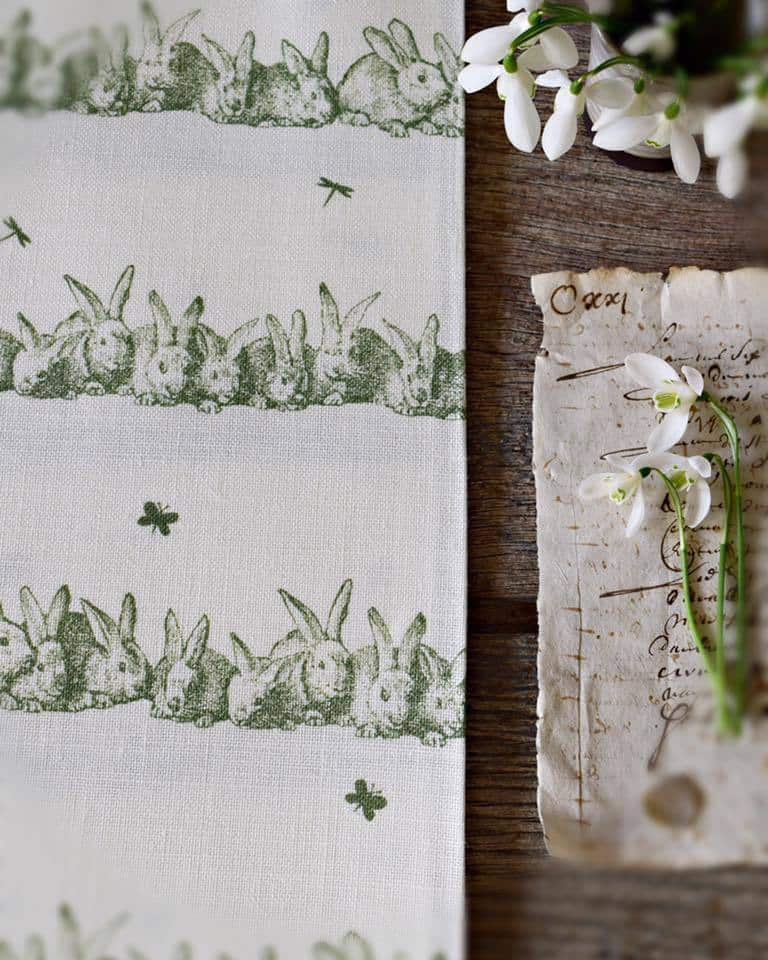 love this sage green bunny rabbit on natural linen fabric peony and sage. Click through for more beautiful wallpaper ideas you'll love to try in your home