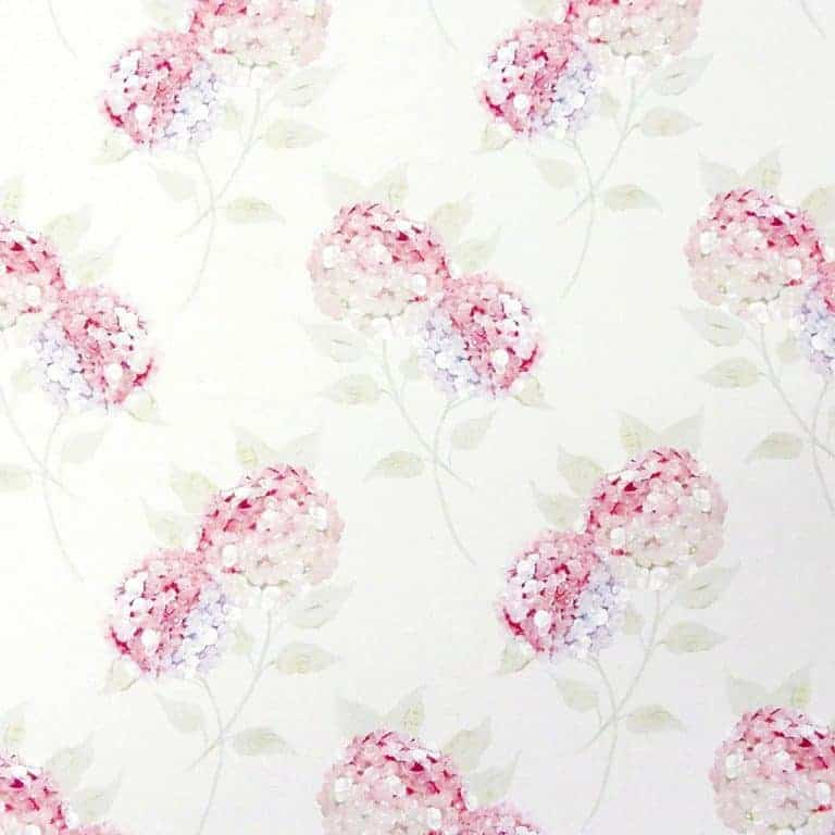 love this pretty pink hydrangea wallpaper by Meg Morton. Perfect for bedroom wallpaper, feature wall or country cottage rustic interior. Click through for more wallpaper ideas you''ll love