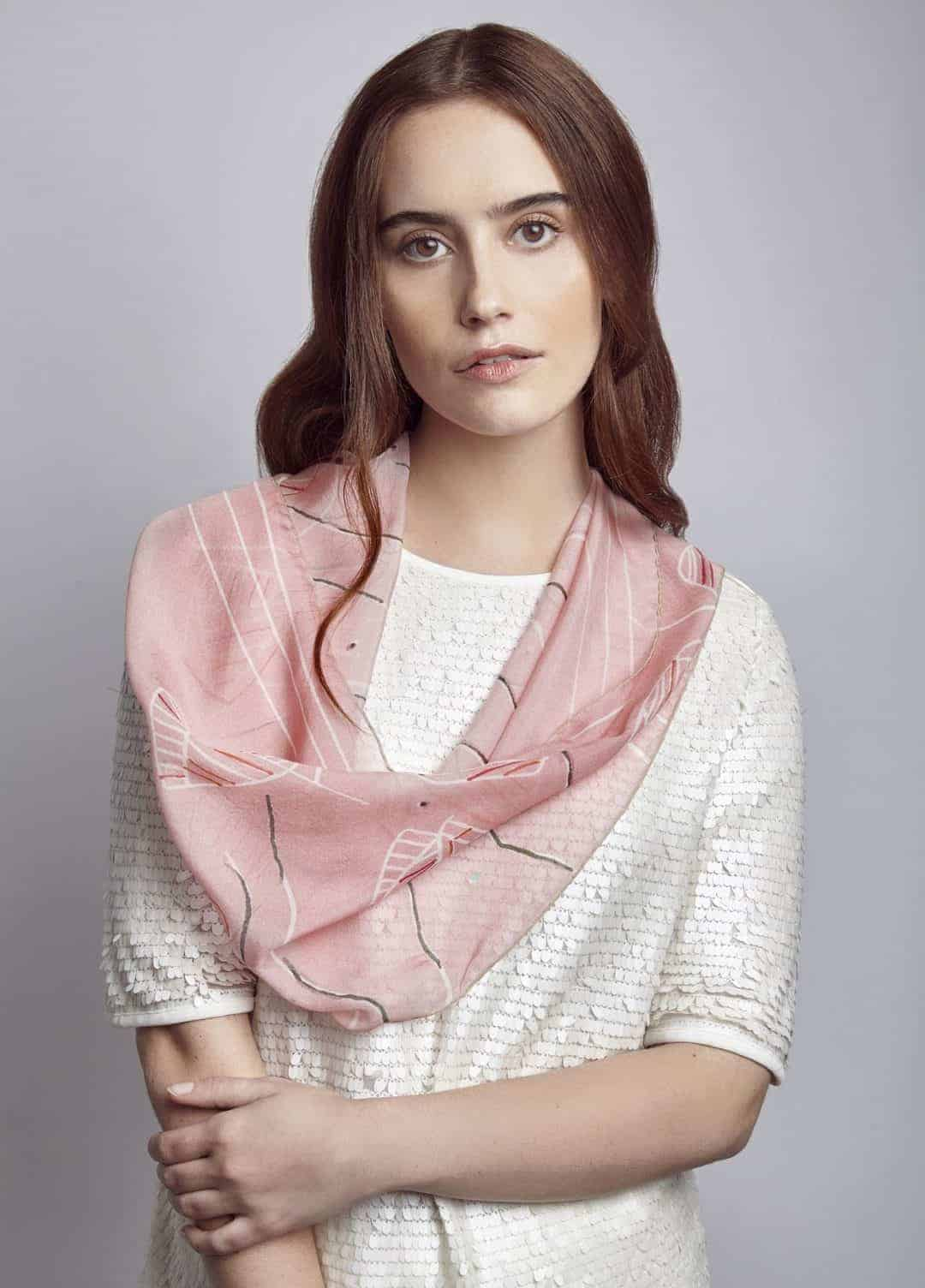 peony bloom silk scarf made in UK by Basma design