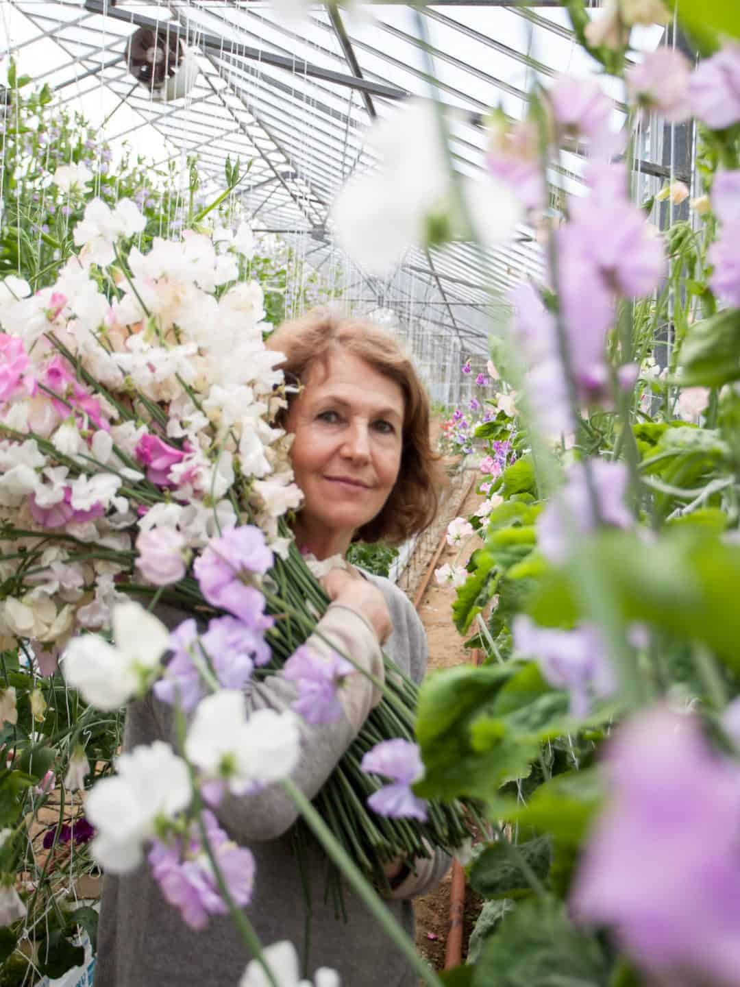 rosebie morton founder of the real flower company with armfuls of sweet peas