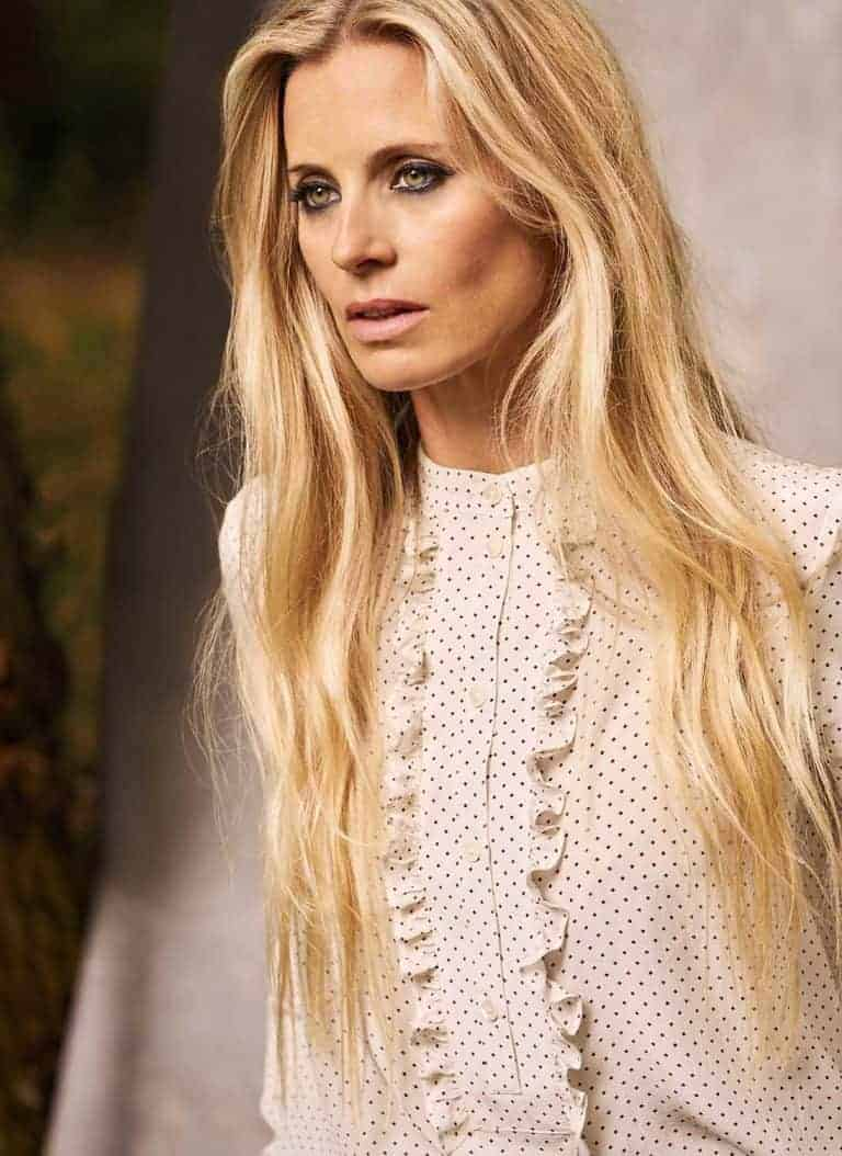 love this high neck tiny polka dot cream silk blouse by Brora part of the 25th anniversary Brora collection in collaboration with Marie Claire fashion director Jayne Pickering. Click through to see the rest of this utterly beautiful collection of cashmere and boho silk dresses and skirts #brora #madeinbritain #cashmere #autumnfashion #boho