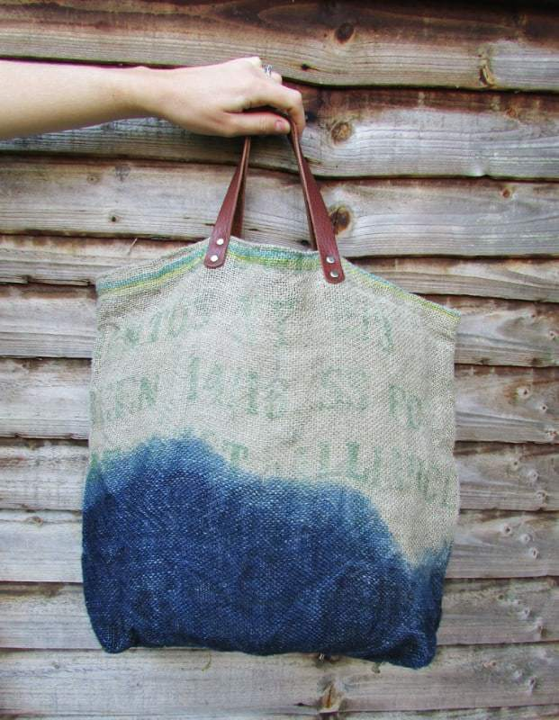 love this jute and indigo tote bag with leather handles handmade in Britain by Indigowares.
