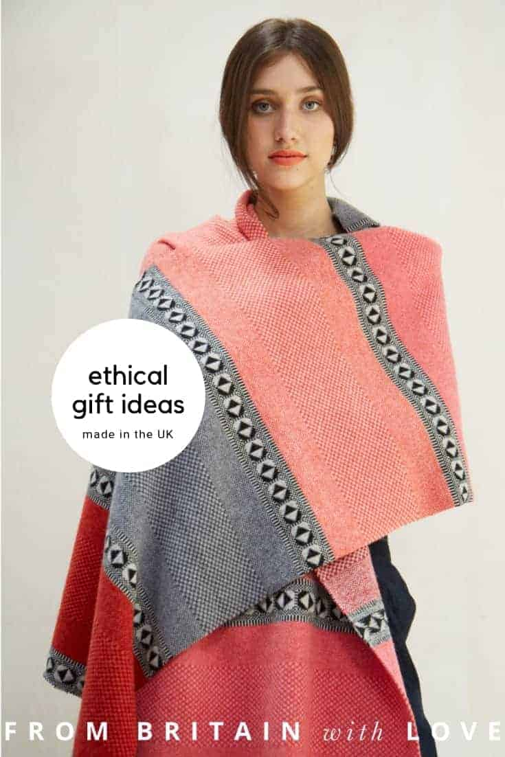 ethical christmas gift ideas made in the UK like this beautiful wool shawl wrap scarf in grey, red and salmon pink by Quinton Chadwick. Click through for more ethical gift ideas for Christmas you'll love #ShopEhicalInstead #ethicalgifts #madeinbritain #frombritainwithlove #sustainablegifts #ethicalhour #zerowaste