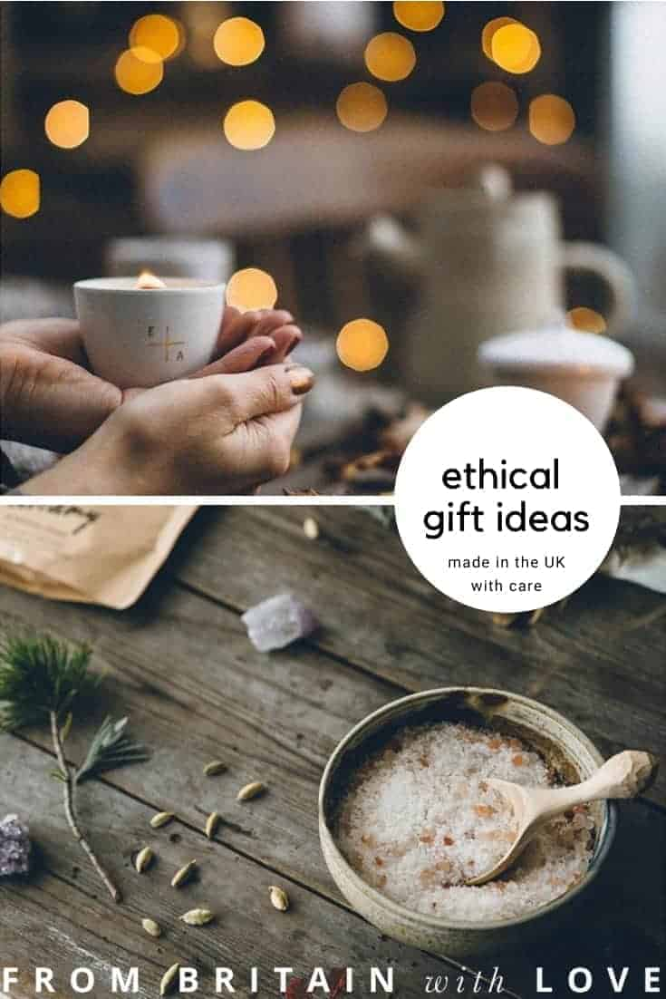 ethical gifts made in the UK like this beautiful scented candle by essence and alchemy and Dreamy organic bath soak by MOA. Click through for more ethical gift ideas for Christmas you'll love #ShopEhicalInstead #ethicalgifts #madeinbritain #frombritainwithlove #sustainablegifts #ethicalhour #zerowaste