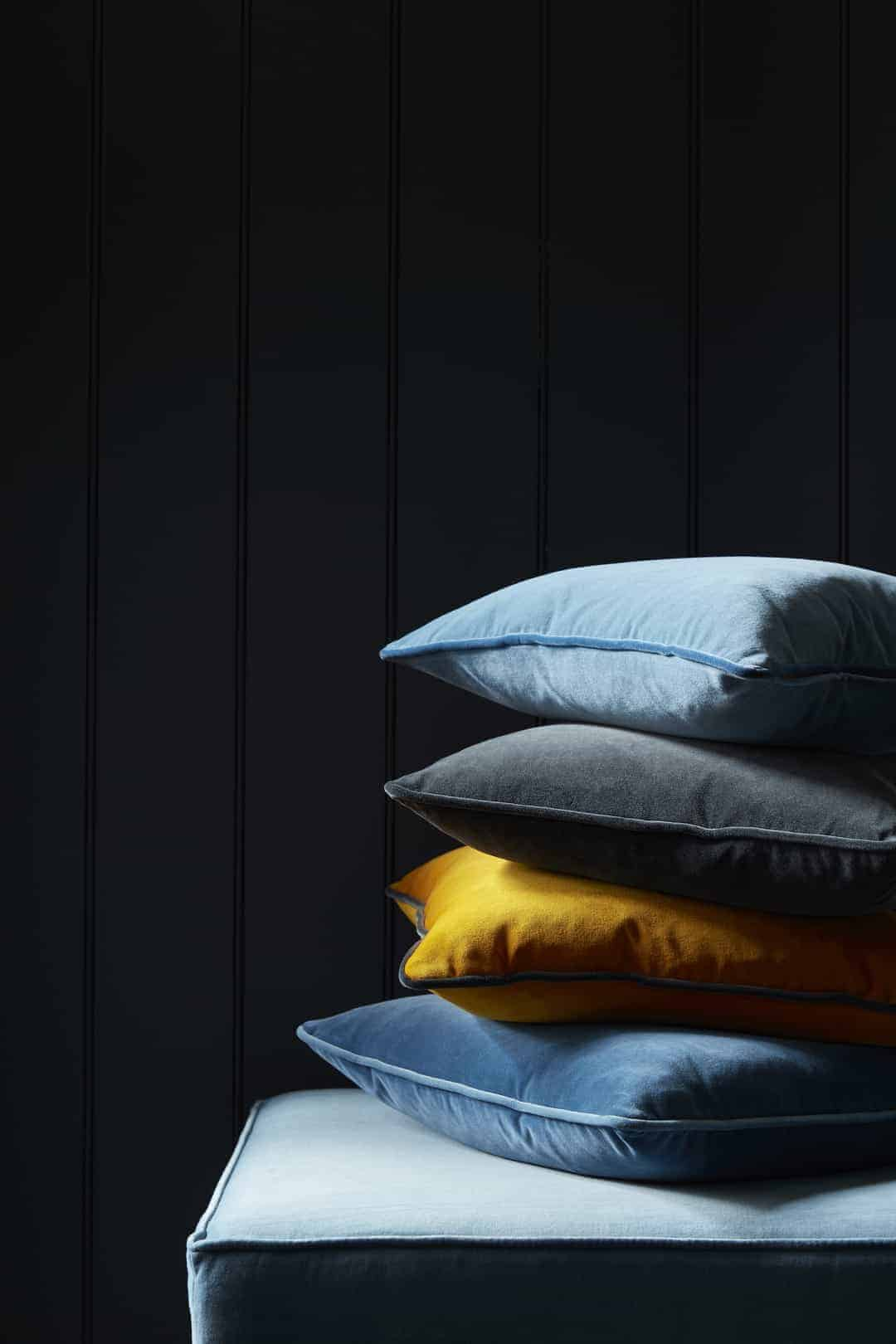 love these jewel shade yellow grey and blue velvet cushions by Vanessa Arbuthnott. Click through for more velvet sofa velvet armchair and other velvet ideas you'll love.