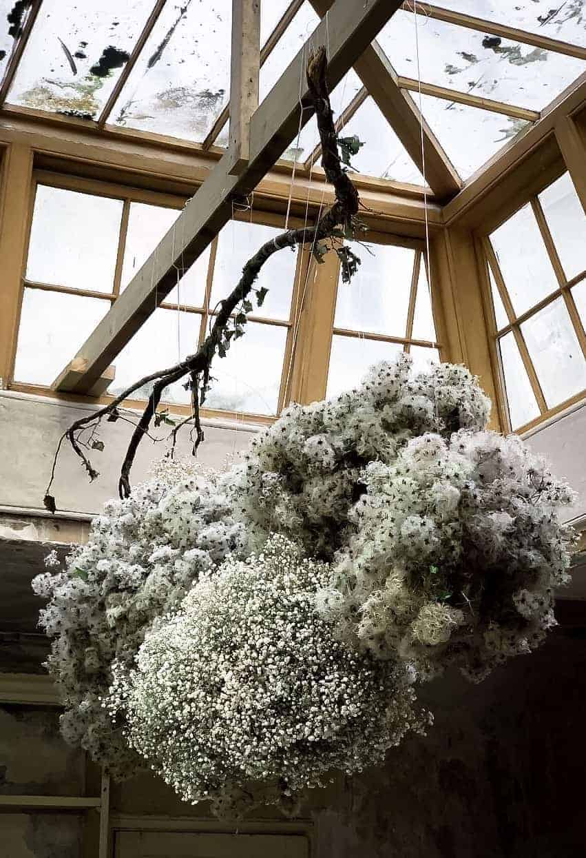 love this 'cloud' of white mans bead and gypsophila made by Kate Langdale Florist for the launch of Conscious Creativity by Philippa Stanton at The Regency Town House in Hove