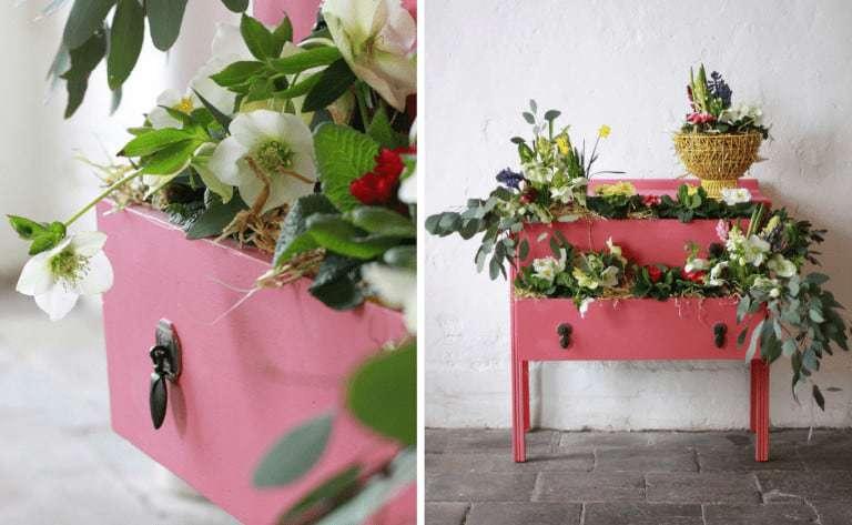 how to decorate with living coral - pantone colour of the year 2019 pink chest annie sloan chalk paint