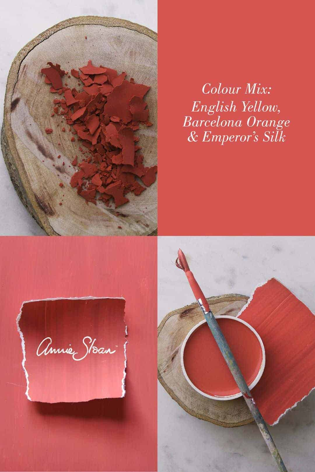 love this Living Coral shade of paint mixed by annie sloan using chalk paint - love this pantone colour of the year because it's bright and lively - click through to get the exact recipe and other ideas for bringing this colour into your home