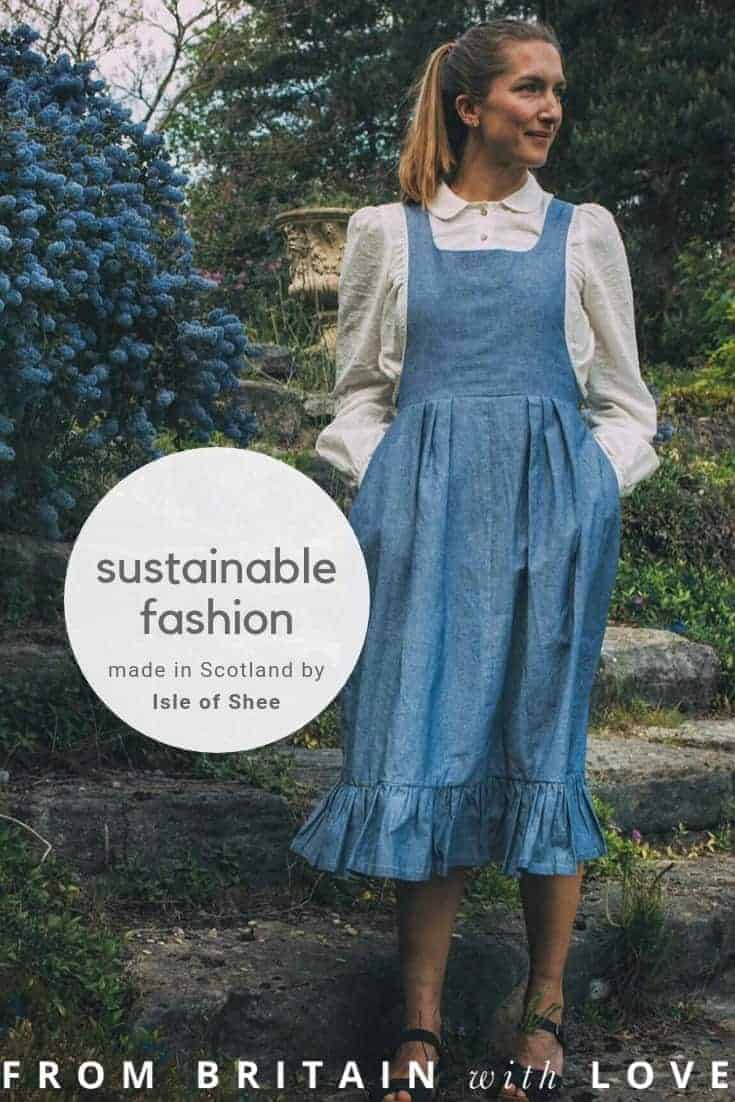 love this denim pinafore dress made in Scotland by Isle of Shee ethical sustainable fashion and clothing handmade with natural fabrics and eco friendly. Click through to get all the info you need to browse this beautiful collection of ethical clothing #ethicalfashion #sustainablefashion #madeinscotland #frombritainwithlove #slowfashion