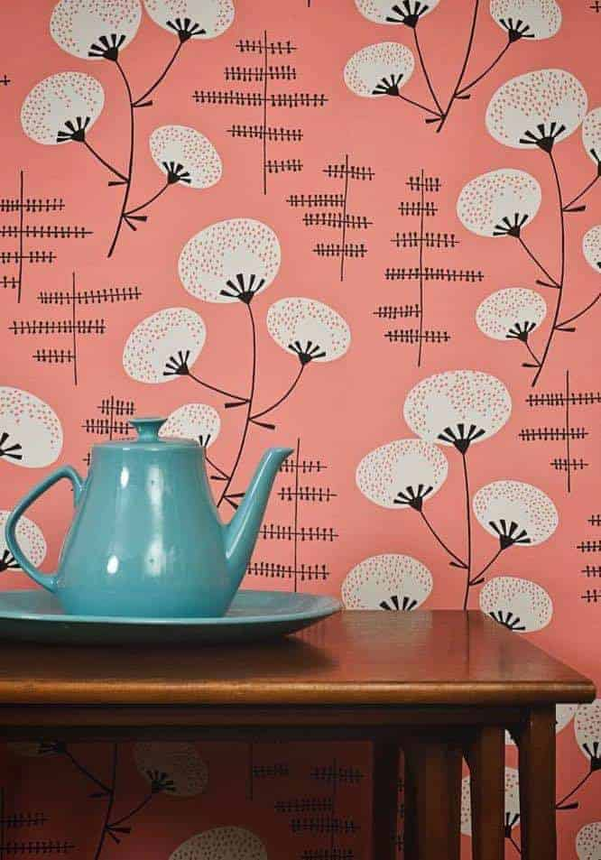love this coral Denver wallpaper made in England by MissPrint with a midcentury 50s design inspiration and perfect for adding pantone colour of the year Living Coral to your home life