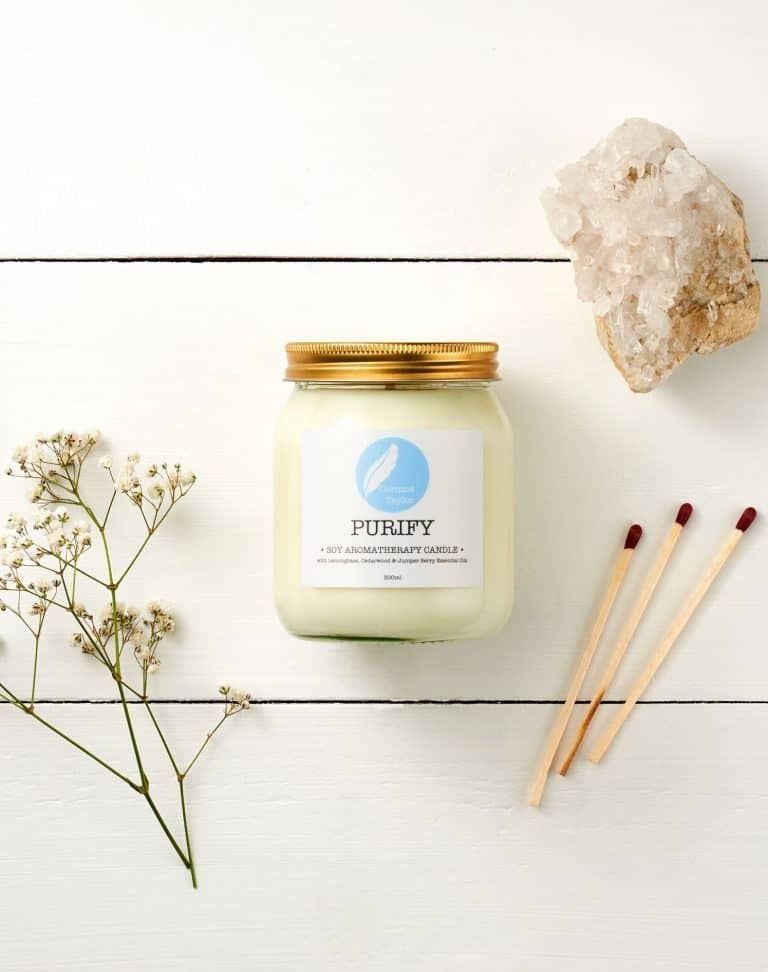 love this purify aromatherapy natural soy handmade candle in glass jar by corinne taylor with essential oils of lemongrass, cedarwood and juniper berry to help uplift your mind and purify the air in your home. Click through to discover other special handmade natural soy and zero waste refillable candles you'll love