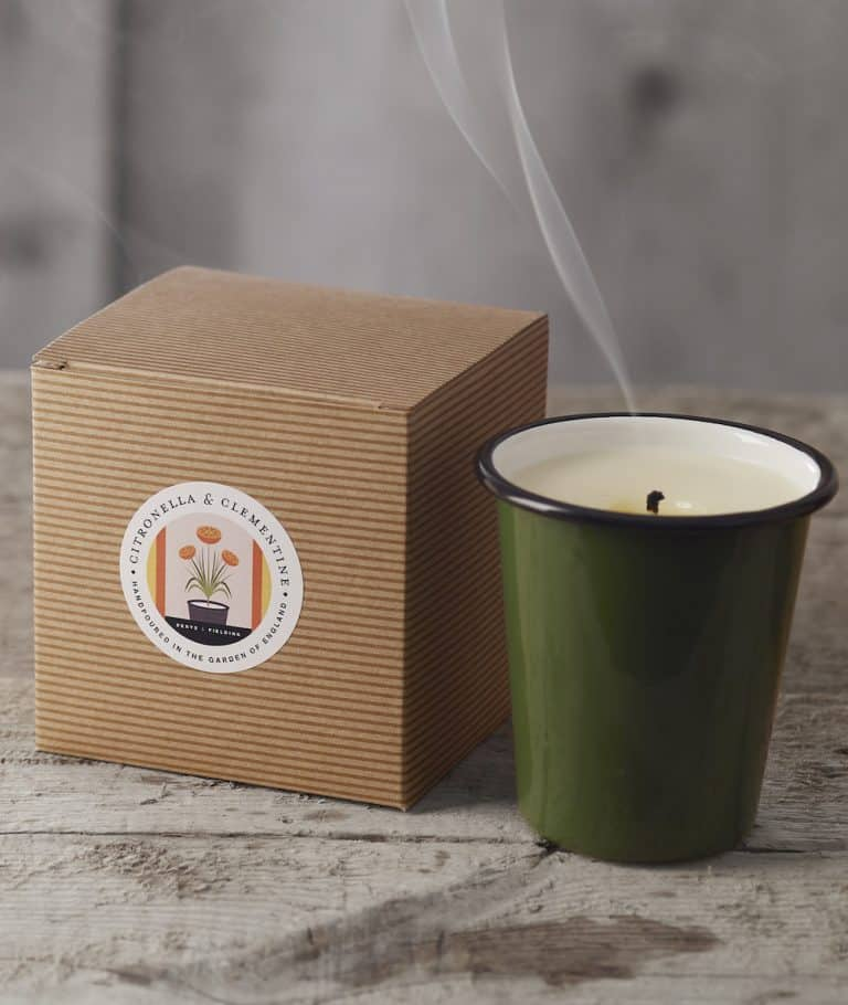love this natural soy handmade candle in refillable enamel made in England with citronella and clementine essential oils for a natural aromatherapy candle with zero waste credentials and an uplifting mood enhancing outdoor candle by Denys & Fielding. Click through to discover other beautiful candles in this range as well as other natural candles I love by other UK makers and ethical producers