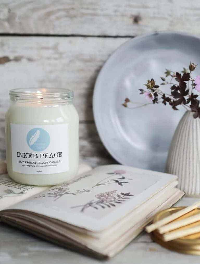 love this Inner Peace aromatherapy natural soy handmade candle in glass jar by corinne taylor with essential oils of bergamot, and ylang ylang to bring relaxation, tranquility and calm. Click through to discover other special handmade natural soy and zero waste refillable candles you'll love