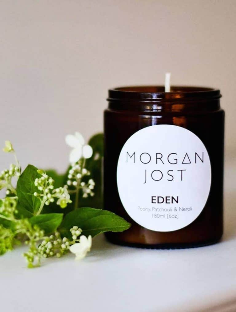 love this handmade morgan jost eden aromatherapy candle by morgan jost from Wearth with oils of peony, patchouli and neroli. Click through to discover other special handmade natural soy and zero waste refillable candles you'll love