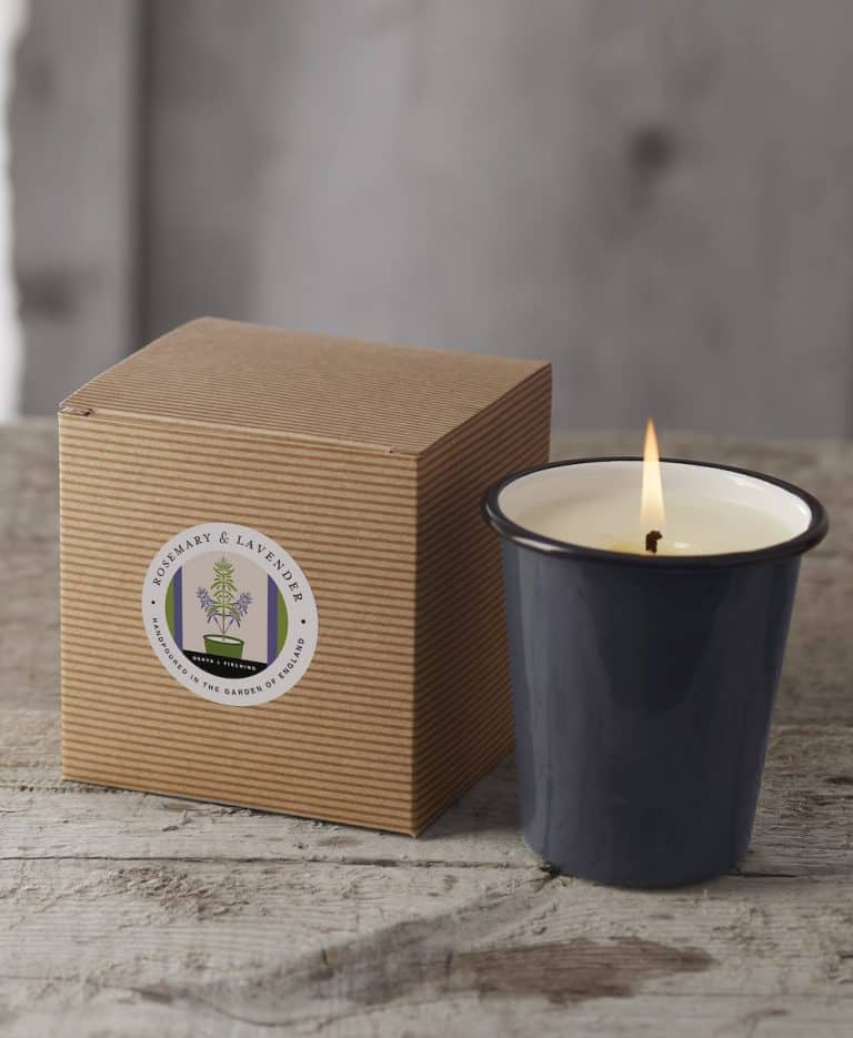 love this natural soy handmade candle in refillable enamel made in England with rosemary and lavender essential oils for a natural aromatherapy candle with zero waste credentials and a relaxing, soothing and stimulating aromatherapy therapeutic effective outdoor candle by Denys & Fielding. Click through to discover other beautiful candles in this range as well as other natural candles I love by other UK makers and ethical producers