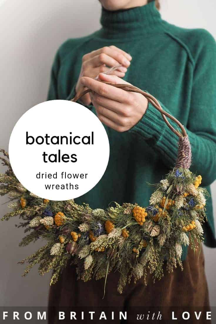 love botanical tales dried flower wreaths and wreath making workshops as well as botanical crafts and DIY craft tutorials with dried and pressed flowers. Click through to get all the info you need #driedflowers #botanical #craft #wreath #workshops #flowercrowns #frombritainwithlove