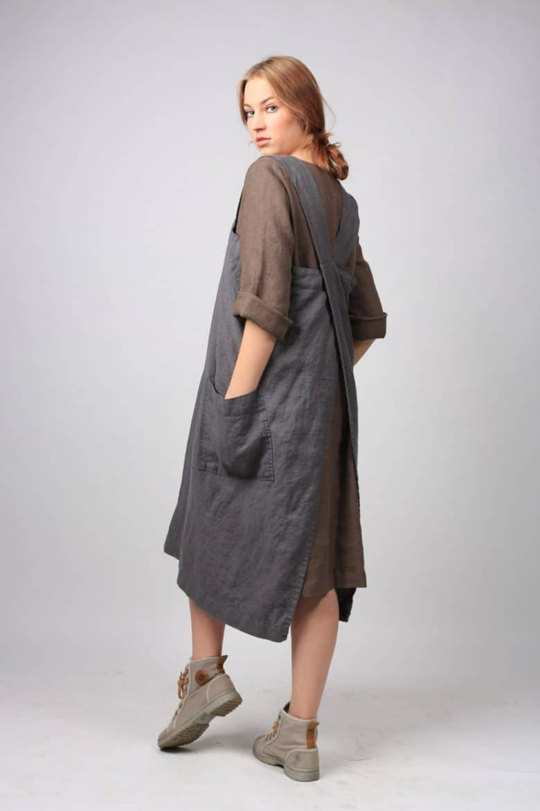 charcoal grey linen cross back pinafore japanese apron