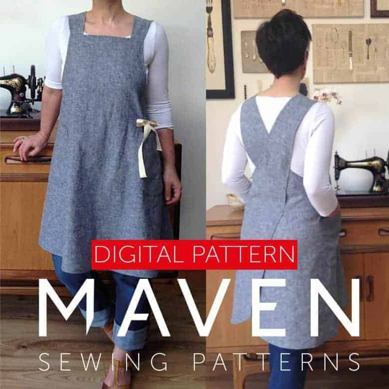 pinafore cross back apron dress PDF downloadable sewing pattern by Maven patterns