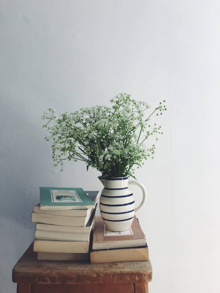 love this instagram photography still life of jug of flowers with books by laura pashby of circle of pine trees - blogger, photographer and instagram coach. Click through to see lots of inspiring slow living images as well as info on how to get your free ebook how to create engaging content and photography for instagram and beyond #instagram #ebook #slowliving #photography #frombritainwithlove #circleofpinetrees #stilllife #flowers #books