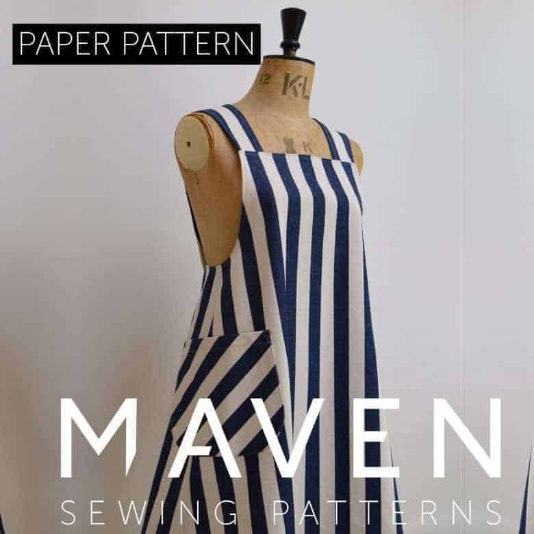pinafore cross back apron dress sewing pattern by Maven patterns