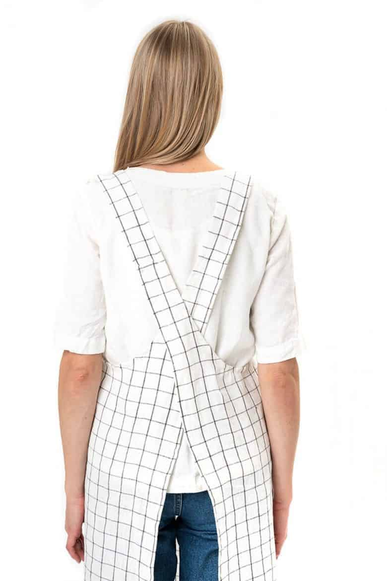 white linen check cross back pinafore apron japanese style